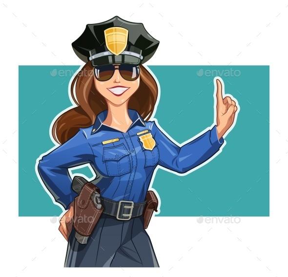 Girl Police-officer in Uniform - Vectors