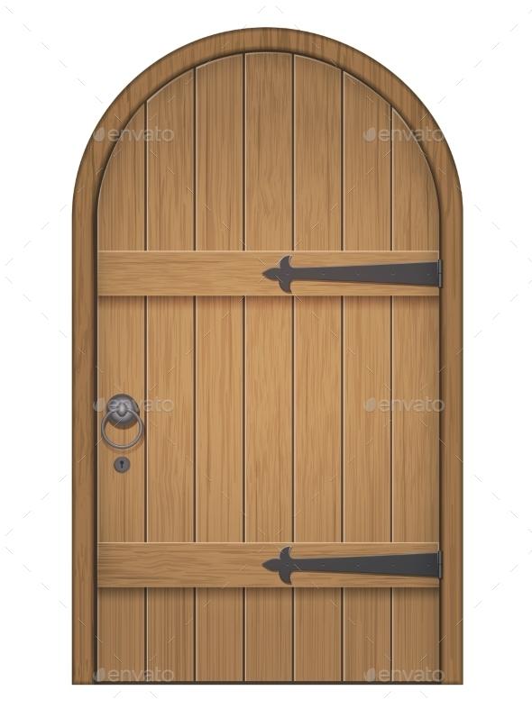 Old Wooden Arch Door - Objects Vectors