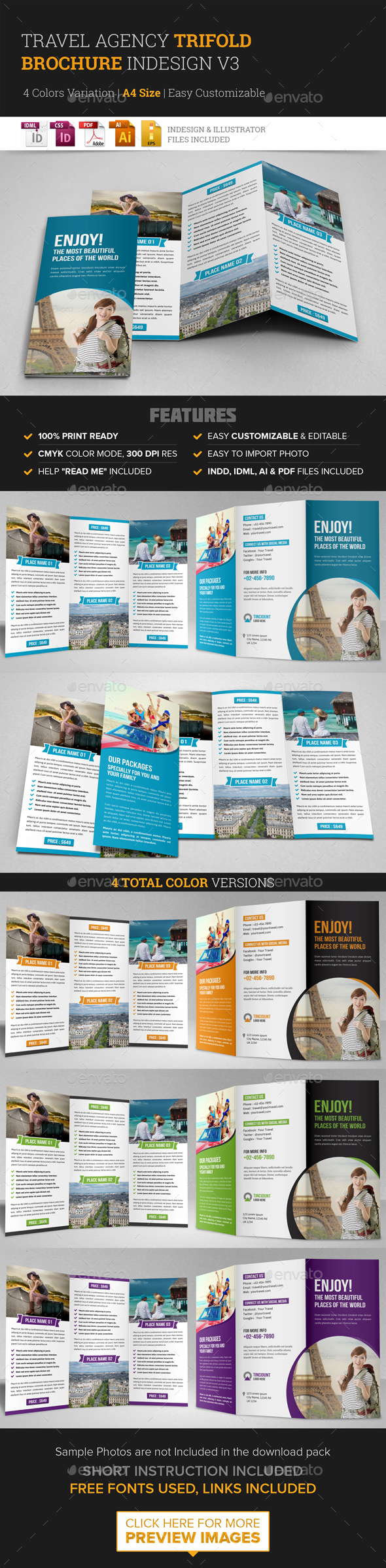 Travel Trifold Brochure InDesign Template v3 - Corporate Brochures