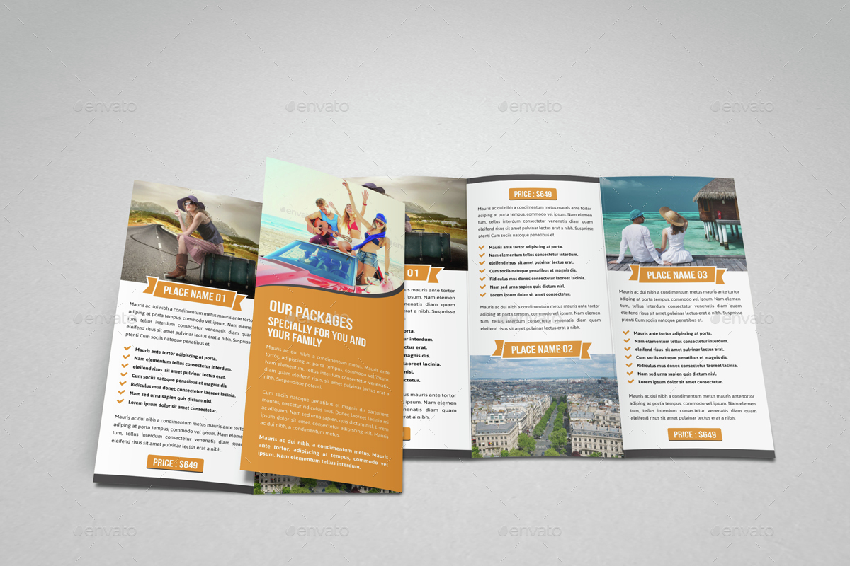 Travel Trifold Brochure InDesign Template V By JanySultana - Tri fold brochure indesign template