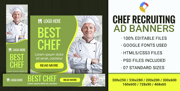GWD | Chef Recruitment HTML5 Banner - 07 Sizes - CodeCanyon Item for Sale