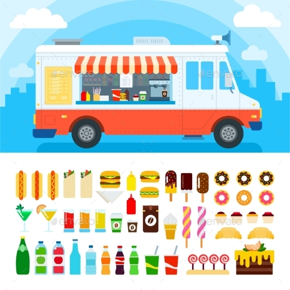 Food Truck With Snacks And Confectionery - Food Objects