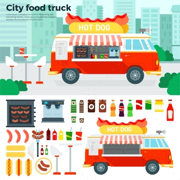 Food Truck With Snacks In The City - Food Objects