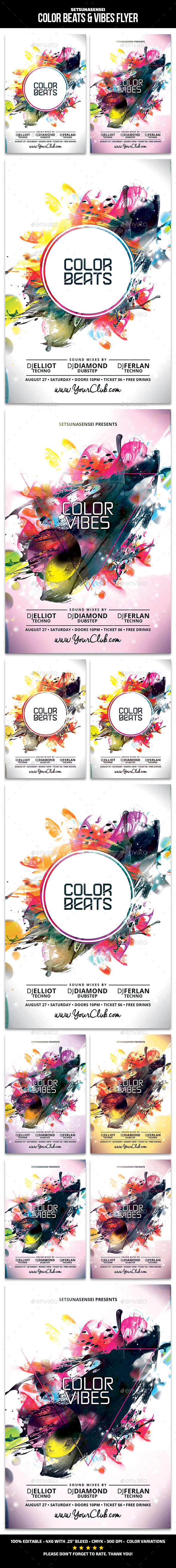 Color Beats & Vibes Flyer - Clubs & Parties Events