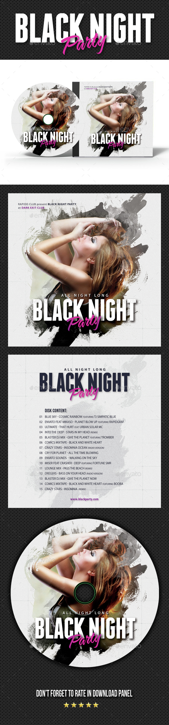 Black Party Event CD Cover Artwork - CD & DVD Artwork Print Templates