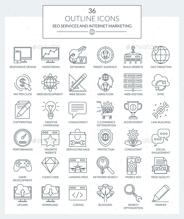 Outline Icons SEO and Marketing - Web Icons