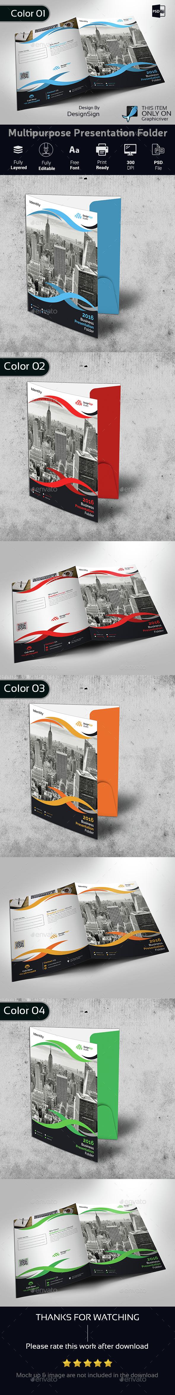 Multipurpose Business Presentation Folder - Stationery Print Templates