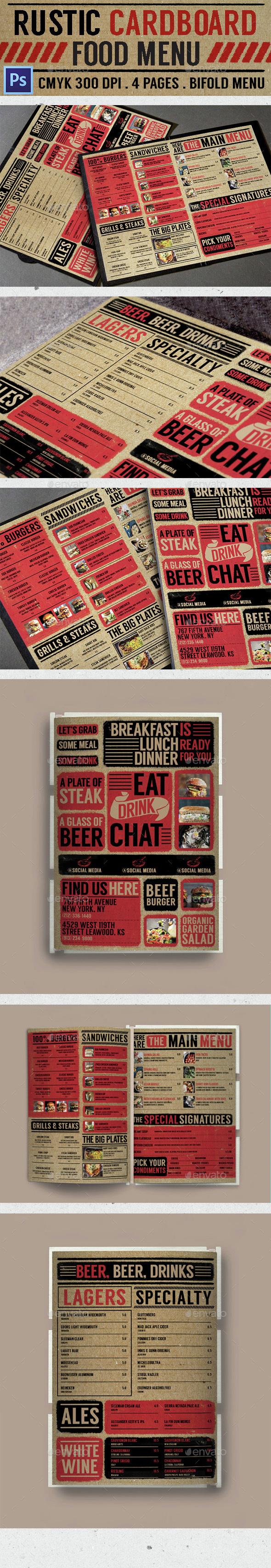 Rustic Cardboard Bifold Menu - Food Menus Print Templates
