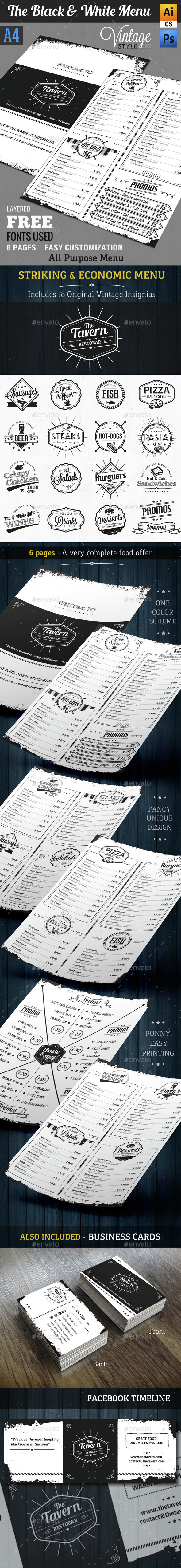 The Black and White Menu || A4 - Vintage Style - Food Menus Print Templates
