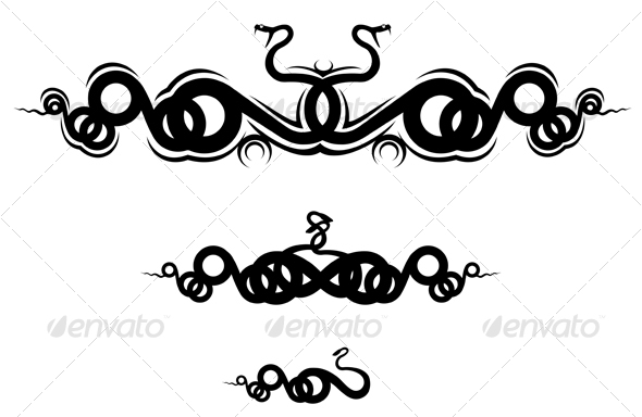 Isolated snakes as a frame or sign - Tattoos Vectors