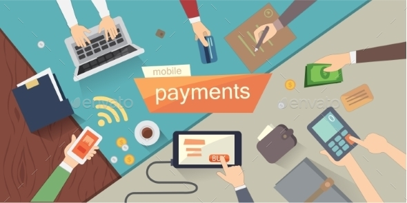Mobile Payments Vector Illustration. Mobile - Computers Technology