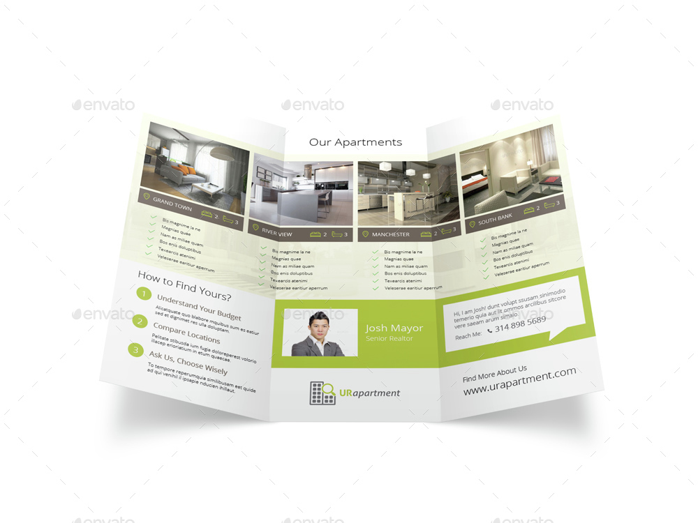 apartment for rent trifold brochure by mike pantone
