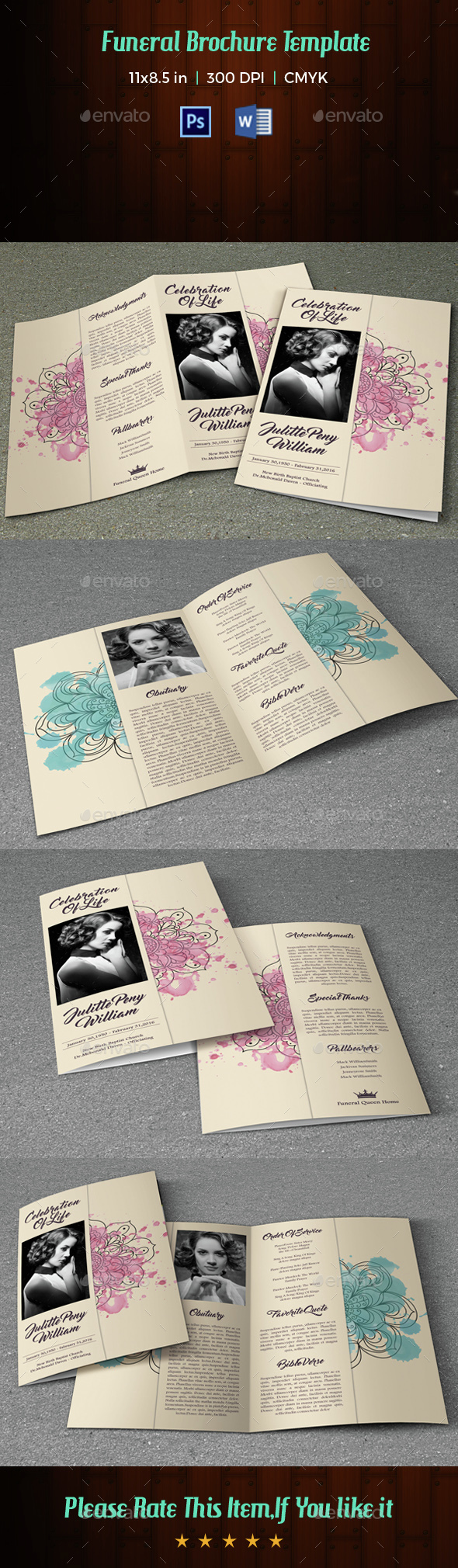 Funeral Program Template-V20 - Informational Brochures