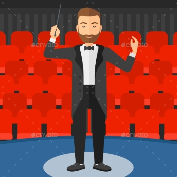 Conductor Directing with Baton - People Characters