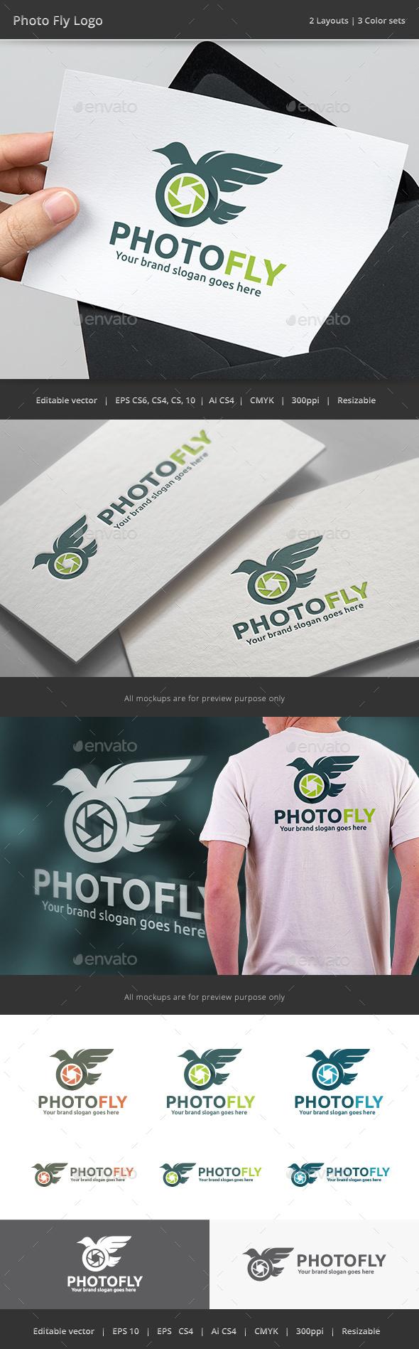 Photo Fly Bird Camera Logo - Vector Abstract
