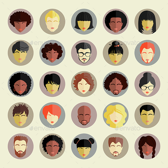 Set of Different Nationality People Icons - People Characters