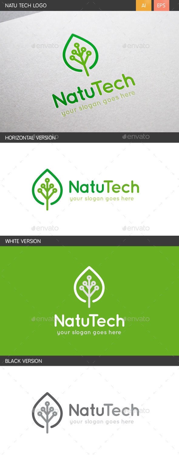 Natu Tech Logo - Nature Logo Templates