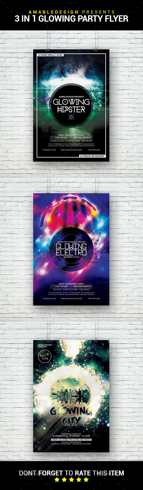3 in 1 Glowing Party Flyer/Poster Bundle - Clubs & Parties Events