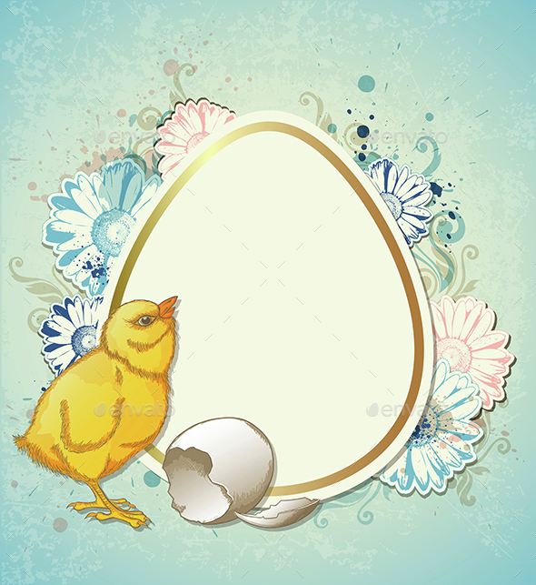 Easter Background with Chicken - Miscellaneous Seasons/Holidays