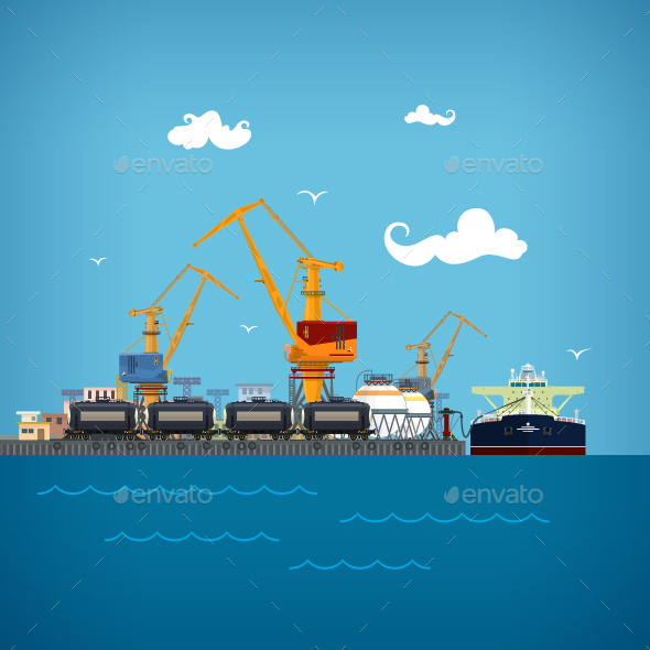 Unloading of Liquids in the Cargo Sea Port - Industries Business