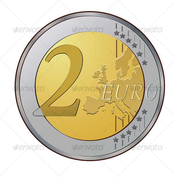 Two euro coin - Objects Vectors