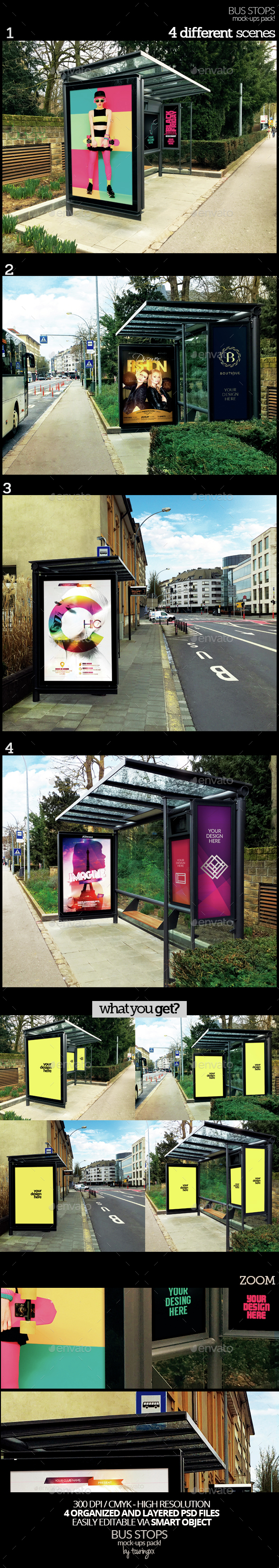 Bus Stops Mock-Ups Pack - Product Mock-Ups Graphics