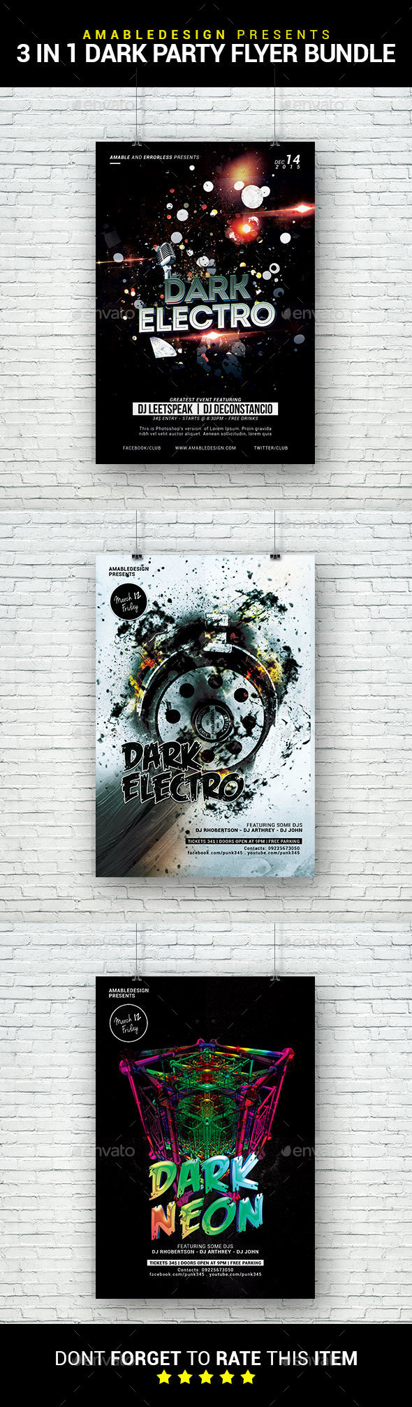 3 in 1 Dark Party Flyer/Poster Bundle - Clubs & Parties Events