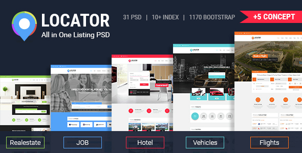 Locator All in One Listing PSD Template - Miscellaneous PSD Templates