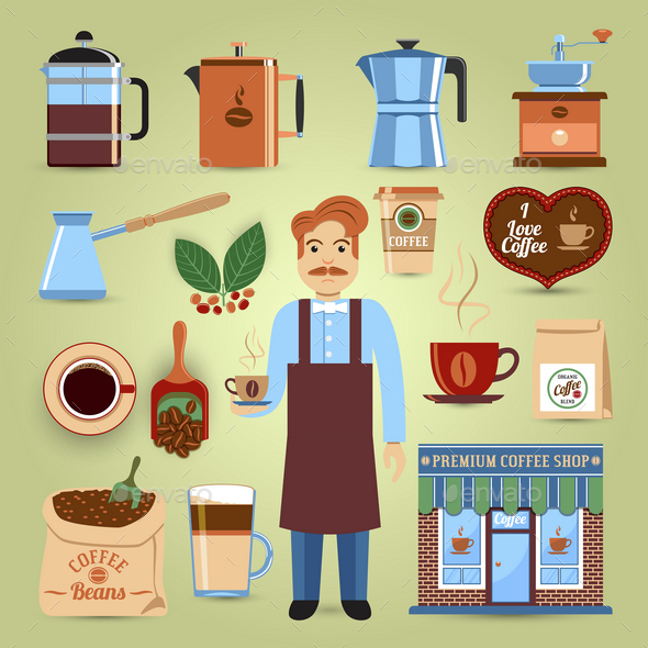 Colorful Set of Coffee Icons - Food Objects
