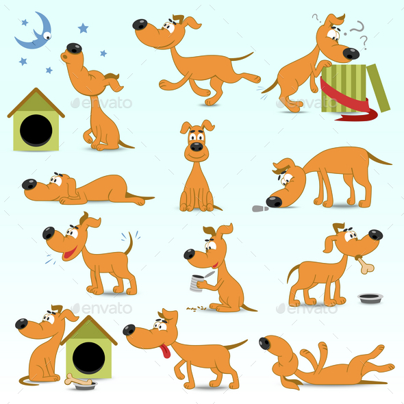 Set of Cartoon Dogs - Animals Characters