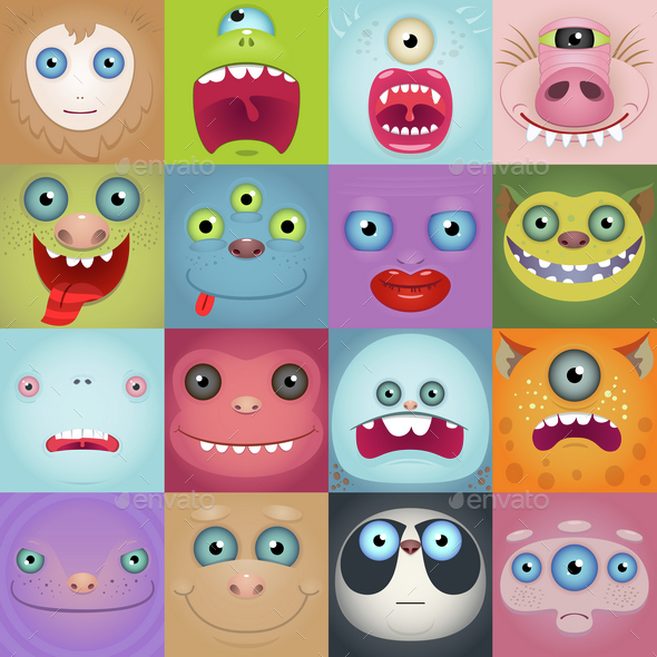 Set of Cartoon Monster Faces - People Characters