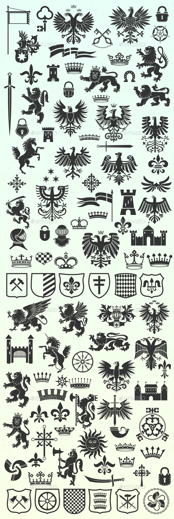 Set of Heraldic Design Elements - Decorative Symbols Decorative