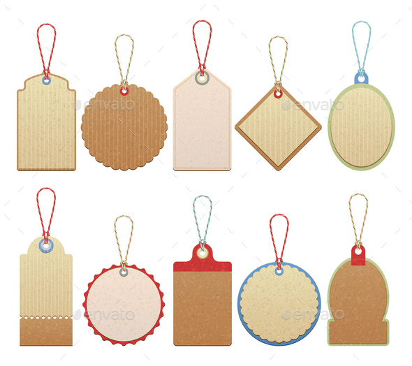 Set of Paper Labels - Decorative Symbols Decorative
