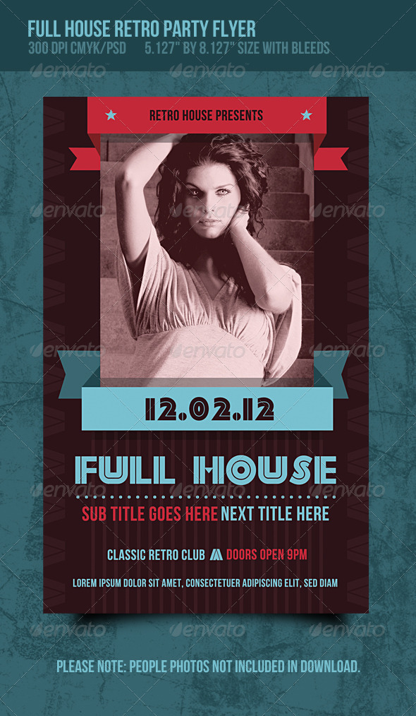 Full House Retro Music Dance Party Flyer - Clubs & Parties Events