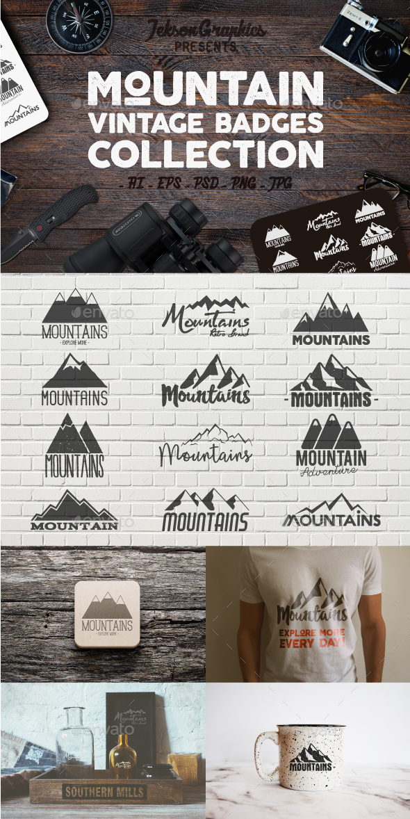 Mountain Vintage Badges Set - Badges & Stickers Web Elements