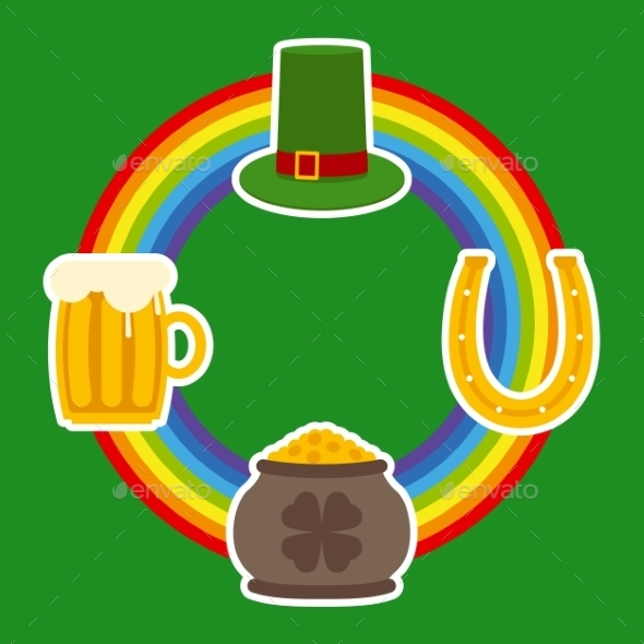 Patrick Day Symbols and Rainbow  - Miscellaneous Seasons/Holidays