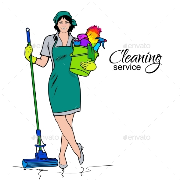 Woman In Uniform. Cleaning Services. - Concepts Business