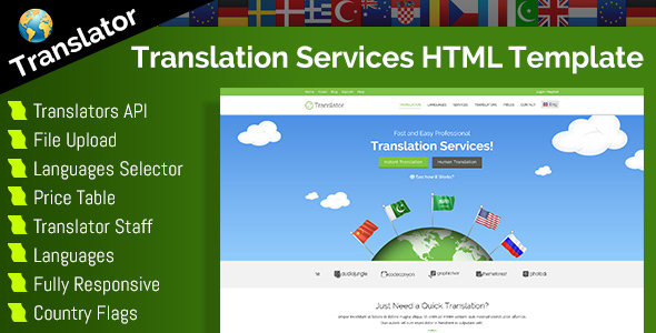 Translator – HTML Website Template For Language Translation Services