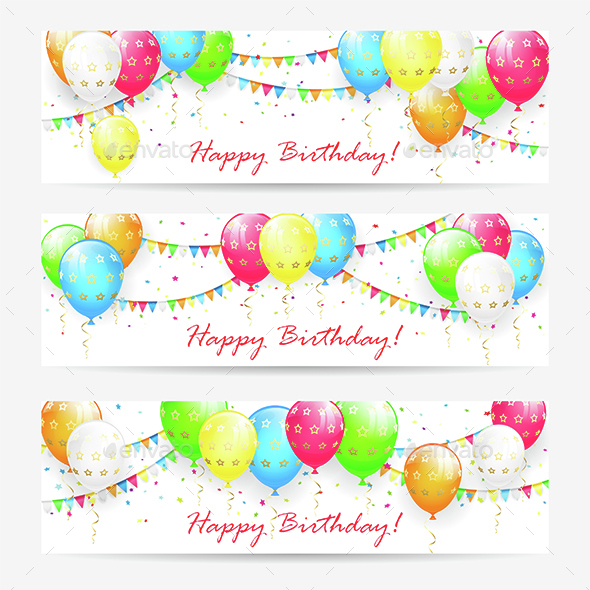 Birthday Cards with Balloons and Confetti - Birthdays Seasons/Holidays