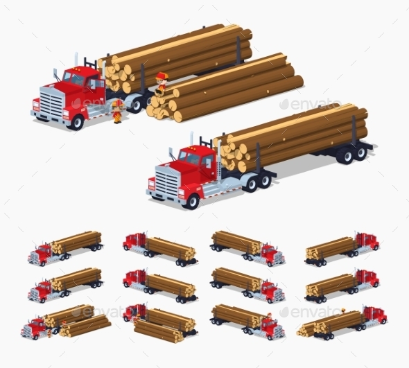Log Truck With The Pile Of Logs - Man-made Objects Objects