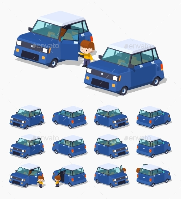 Modern Blue Hatchback - Man-made Objects Objects