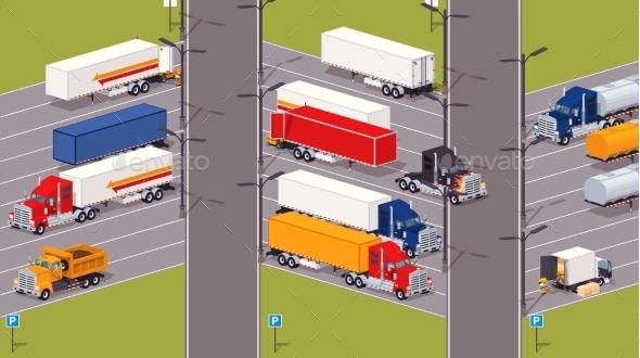 Heavy Trucks Parking Lot - Travel Conceptual