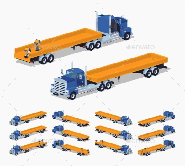 Blue Heavy Truck And Trailer With The Yellow Open - Man-made Objects Objects
