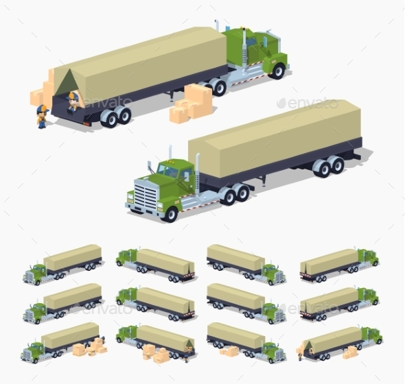Green Heavy Truck And Trailer With The Tarpaulin - Man-made Objects Objects