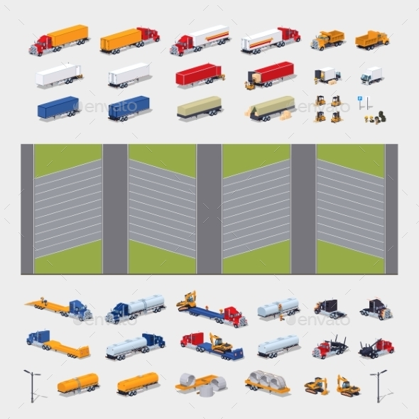 Heavy Trucks Parking Lot Constructor - Man-made Objects Objects