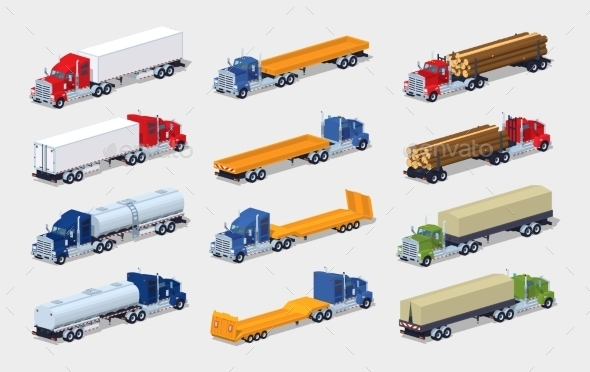 Collection Of Heavy Trucks With Semitrailers - Man-made Objects Objects