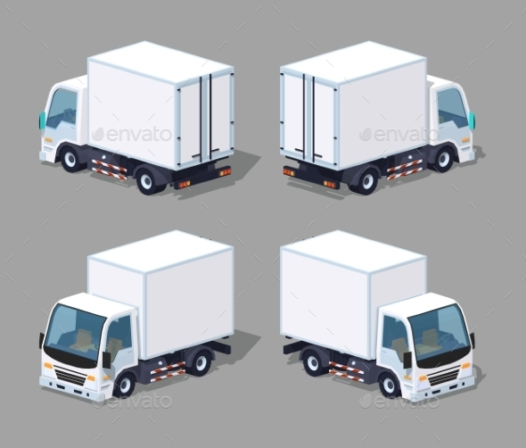 White Cargo Truck - Man-made Objects Objects