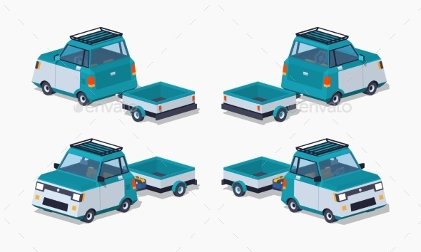 Blue Compact Car With The Trailer - Man-made Objects Objects