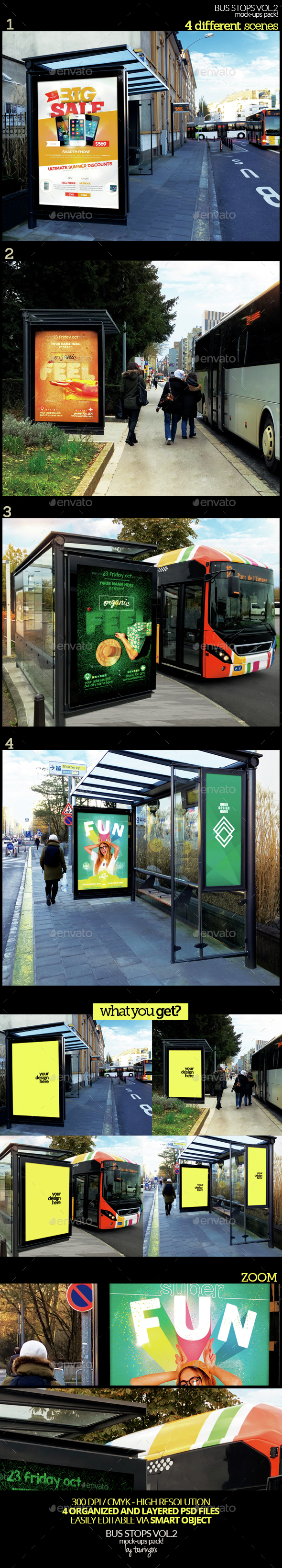 Bus Stops Vol.2 Mock-Ups Pack - Product Mock-Ups Graphics