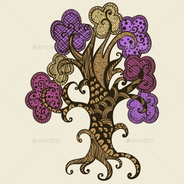 Hand Drawn Tree Illustration Doodle Style - Flowers & Plants Nature